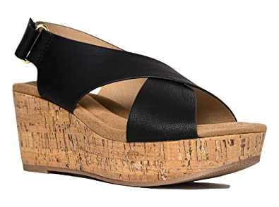 5db48e28c7 Image Unavailable. Image not available for. Color: J. Adams Alexa  Comfortable Wedge – Cross Band Adjustable Strap Slingback Sandal
