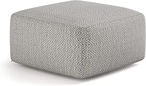 SIMPLIHOME Nate Square Pouf, Footstool, Upholstered in Patterned Grey Melange Hand Woven Cotton, for the Living Room, Bedroom and Kids Room, Transitional, Modern