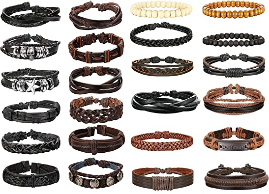 Ensemble de 4 bracelets ethniques pour homme//femme en cuir coton et bois