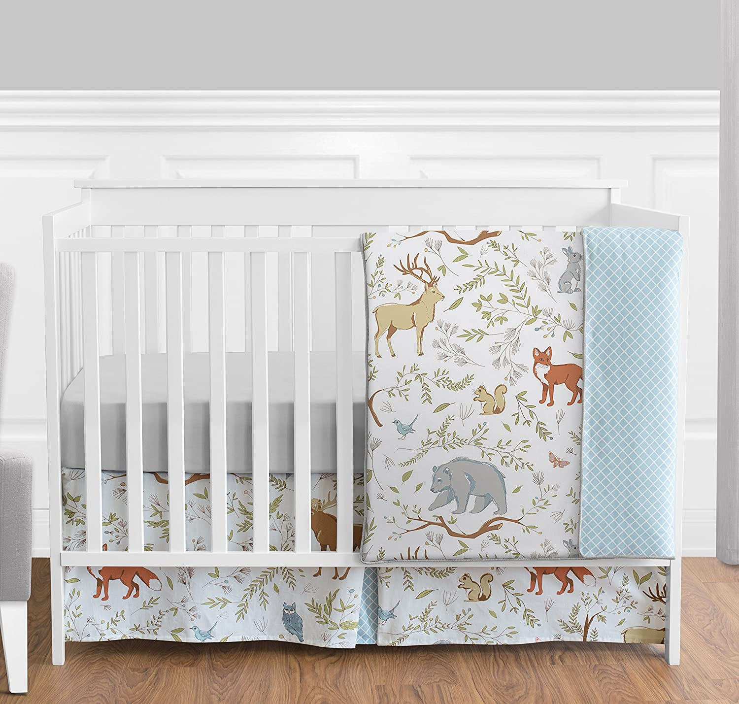 Blue, Grey and White Woodland Deer Fox Bear Animal Toile Girl or Boy Baby Bedding 4 Piece Crib Set Without Bumper Sweet Jojo Designs