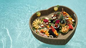 Floating Serving Trays Table Bar XLGE Heart - Swimming Pool Floats for Adults for Sandbars, Spas, Bath, and Pool Parties | Floating Tray for Pools Serving Drinks, Brunch, Food on The Water.