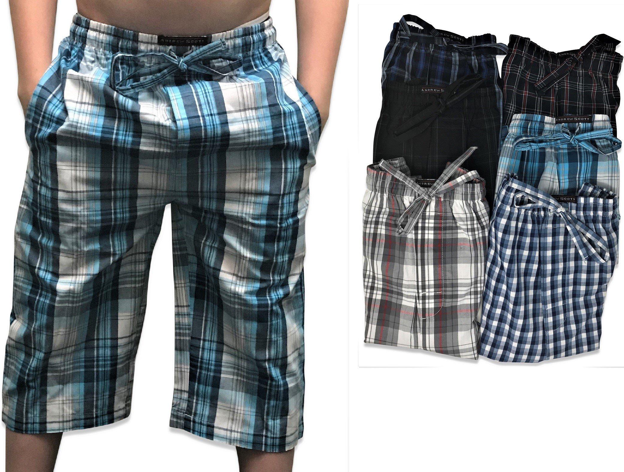 Andrew Scott Boy's 6 Pack Woven Jam 3/4 Length Jog Shorts Pant (6 Pack - Assorted Classic Plaids, Small)