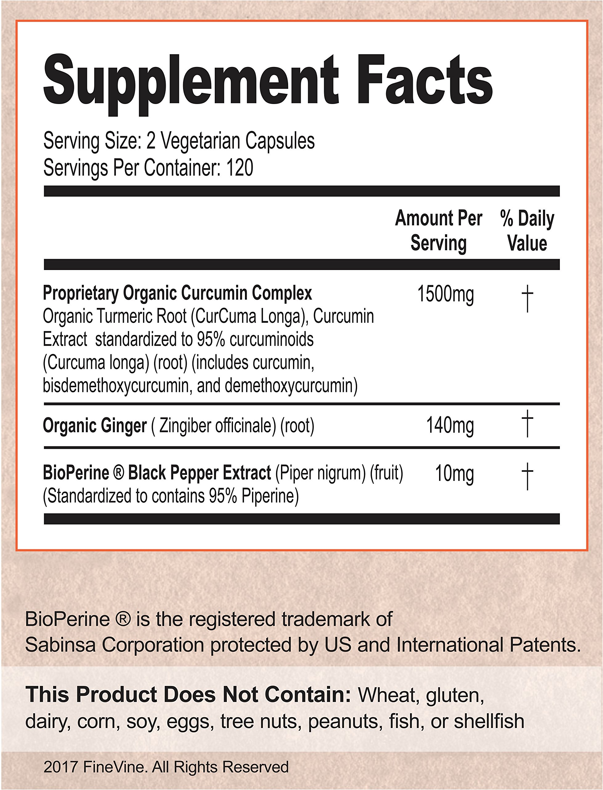 Turmeric Curcumin with BioPerine Black Pepper and Ginger - Made in USA - 120 Vegetarian Capsules for Advanced Absorption, Cardiovascular Health, Joints Support and Anti Aging Supplement (120 Capsules) by FineVine (Image #2)