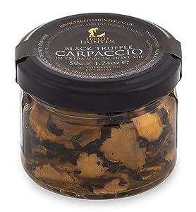 TruffleHunter Black Truffle Slices Carpaccio (1.74 Oz) Preserved in Extra Virgin Olive Oil Black Summer European Sliced Truffles (Tuber Aestivum) Gourmet Food Garnish Seasoning