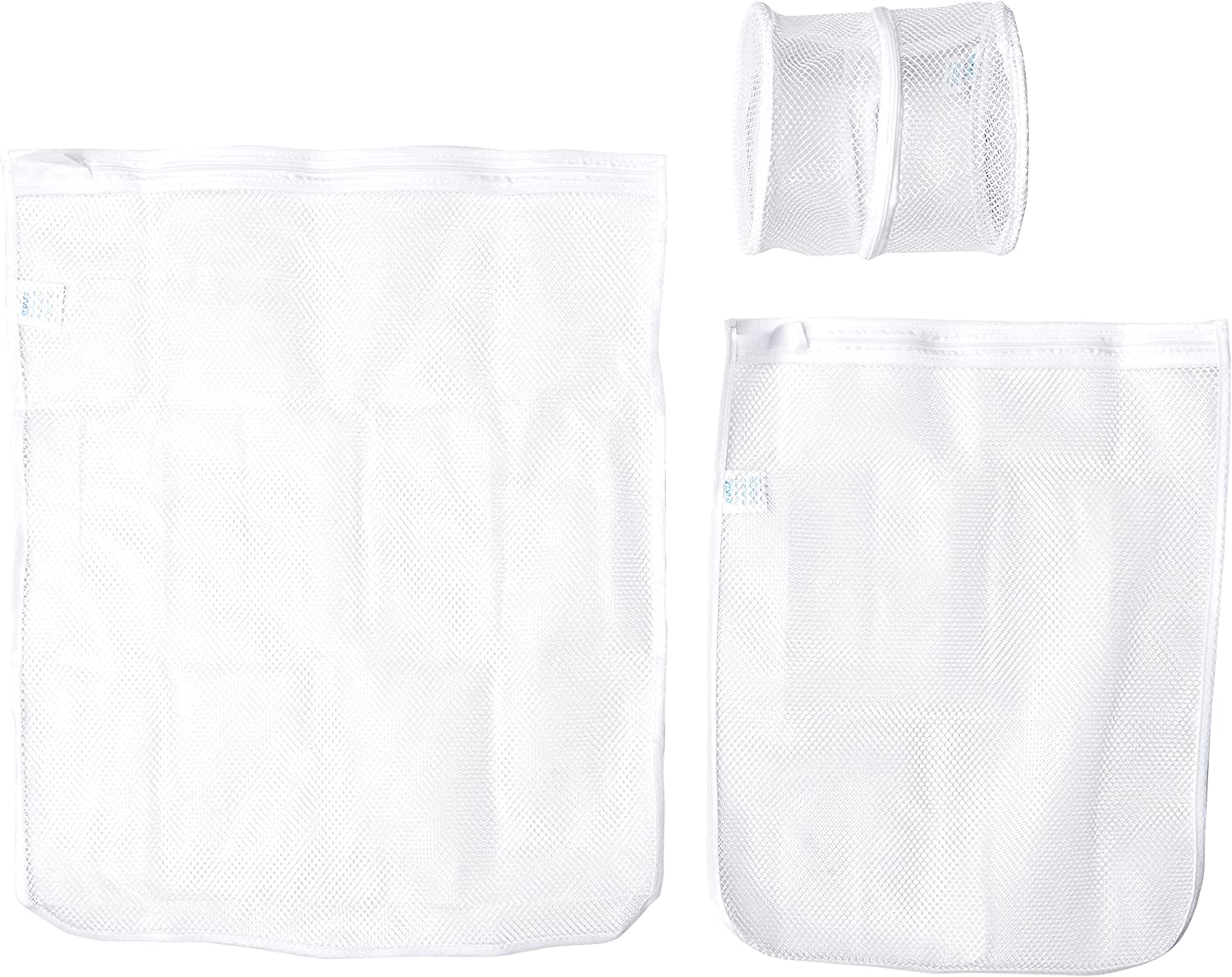 Smart Design Intimate Wash Bag w/ Safety Zipper - Swater, Lingerie, & Intimate Sizes - Washer & Dryer Safe - Mesh Polyester Material - for Delicates, Lingerie, & Baby Clothes (Set of 3) [White]