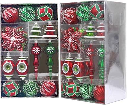 Amazon Com Valery Madelyn 50ct Classic Collection Splendor Shatterproof Christmas Ball Ornaments Decoration Red Green White Themed With Tree Skirt Not Included Furniture Decor
