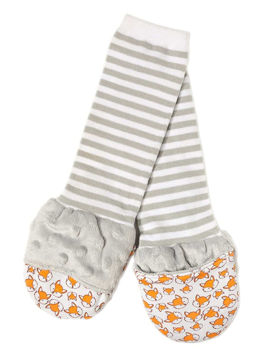 Handsocks Plushy Stay On Strap-Free No-Scratch & Warmth Baby & Kid Mittens (Small (0-6 Months), Felix(Grey/Foxes))