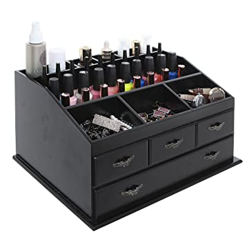 Amazoncom Wood Dresser Top Vanity Cosmetic Organizer Chest Box