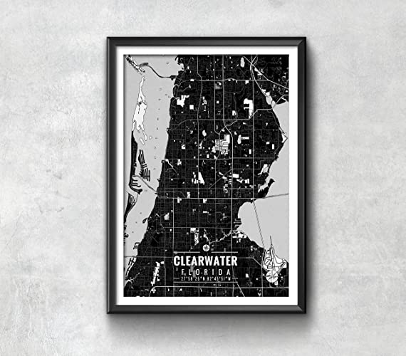 Clearwater Florida Map.Amazon Com Clearwater Florida Map With Coordinates Clearwater