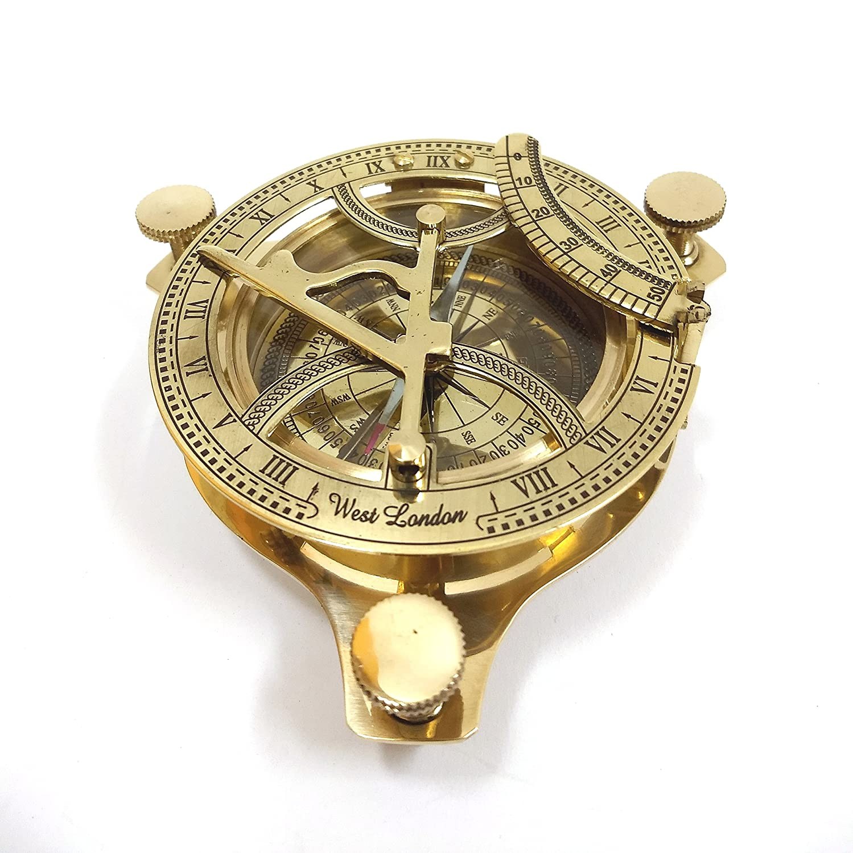 "4/"" Brass Sundial Compass Anchor West London Etched Nautical Retro Decor"