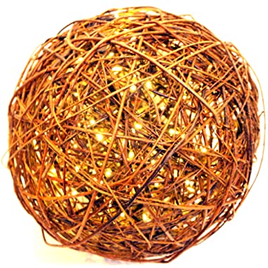 Willowbrite Globe (12  Globe Filled with 100 Warm White LEDs) Natural Willow Branch Pendant Lamp, Christmas Decor, Night Globe, Tree Light Ball, Holiday, Patio, Outdoor, Rattan, Grape
