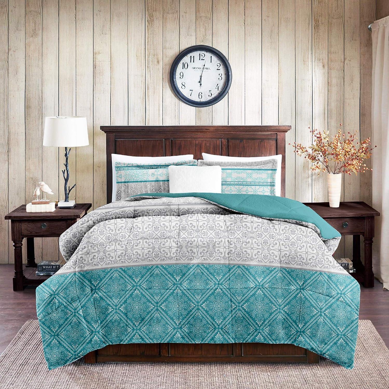ADP Home - Conforter Sedalina Estampada Violeta con Borreguito (240x220 CM) + 2 Fundas de Almohada con Volante (50x70 +5 CM)