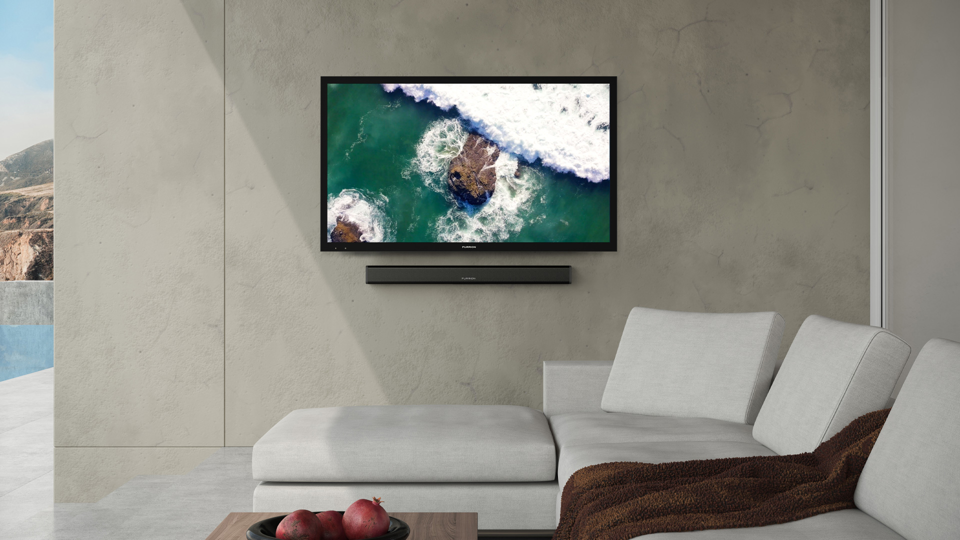 Furrion Aurora - Partial Sun Series 55-Inch Weatherproof 4K Ultra-High Definition LED Outdoor Television with Auto-Brightness Control for Outdoor Entertainment - FDUP55CBR