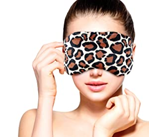 Heated Microwavable Eye Mask by FOMI Care | Lavender Scented, Reusable, Compress for Migraines, Dry Eyes, Headaches, and Sinus Relief | Soothing Moist Heat Wrap (Leapord)