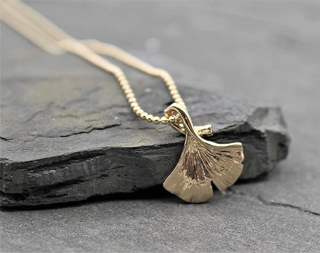 Halskette Kette Anhänger Ginkgo Blatt Gold Farbe Natur Schmuck ...