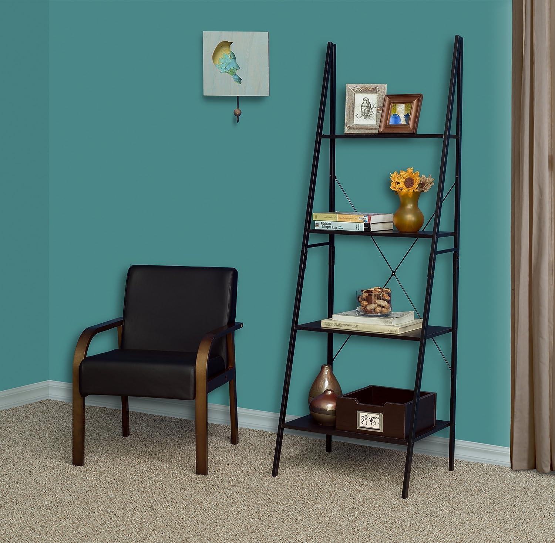 Niche Soho Modern Ladder A Frame Bookcase, 72 H x 24 W, Ebony