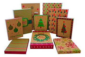 Christmas Gift Boxes With Lids.Christmas Gift Boxes 10 Pack Kraft High Quality Assortment Foil Kraft Gift Boxes Great For The Holidays 3 Sizes 10