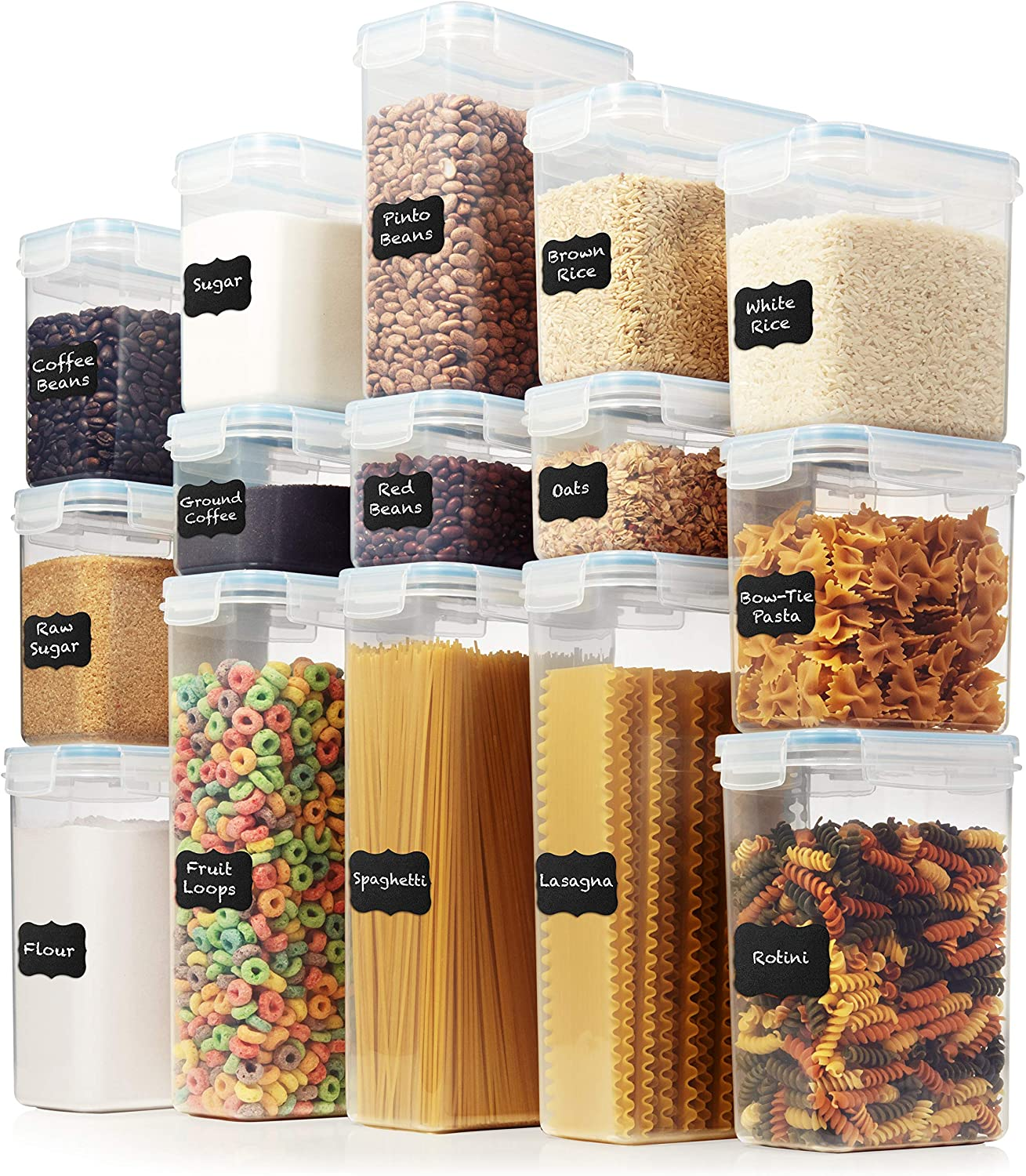 LARGE Set of 30pc Airtight Food Storage Containers (15 Container Set) - Amsha Kitchen & Pantry Organization - BPA-Free Plastic Containers - Interchangeable Lids Ideal for Spaghetti, Flour, Rice, Sugar