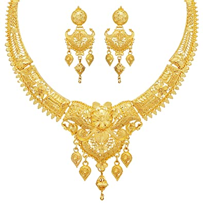 ef20ad72a Buy Mansiyaorange Party Collection Jewellery Neckalce Sets for Women (One Gram  Golden) Online at Low Prices in India | Amazon Jewellery Store - Amazon.in