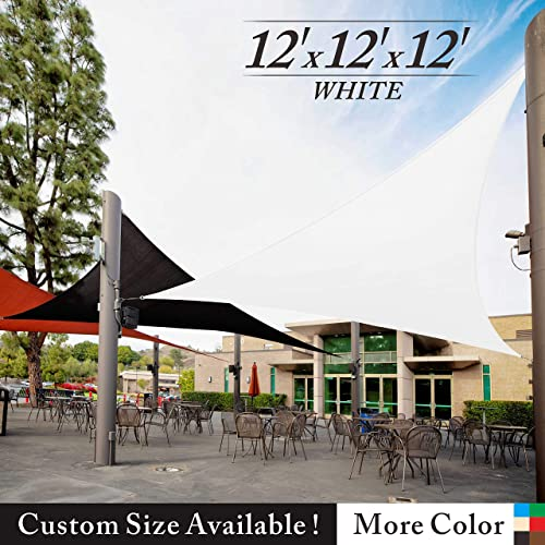 Royal Shade 12 x 12 x 12 White Triangle Sun Shade Sail Canopy Awning Outdoor Patio Fabric Shelter Cloth Screen Awning – 95 UV Protection, 200 GSM, Heavy Duty, 5 Years Warranty, We Make Custom Size