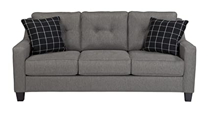 Benchcraft - Brindon Contemporary Sofa - Two Throw Pillows Included -  Charcoal