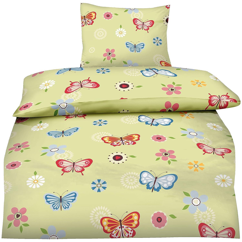 Aminata - trendige Mädchen Teenager-Bettwäsche Schmetterlinge ...