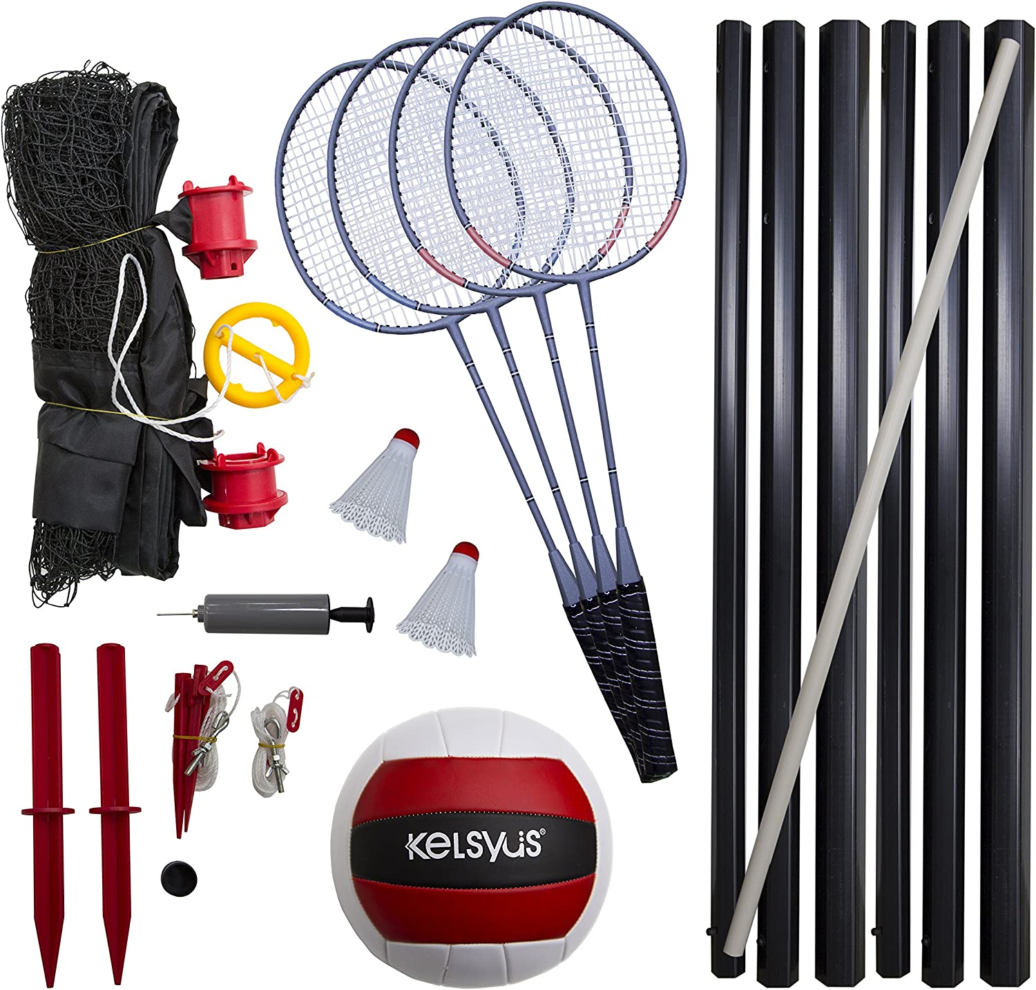 Kelsyus Premium Badminton and Volleyball Combo: Toys & Games