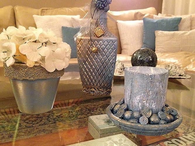 Botella, porta velas,y macetero pintados a mano .Conjunto de tres piezas