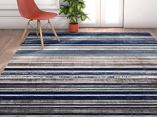 Well Woven Amba Signature Modern Distressed Geo Stripes Blue Area Rug 3'11″ x 5'3″