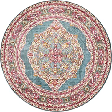 A2Z Rug Turquoise 8' 4 x 8' 4 Feet Round St. Tropez Collection Traditional and Modern Area Rugs and Carpet