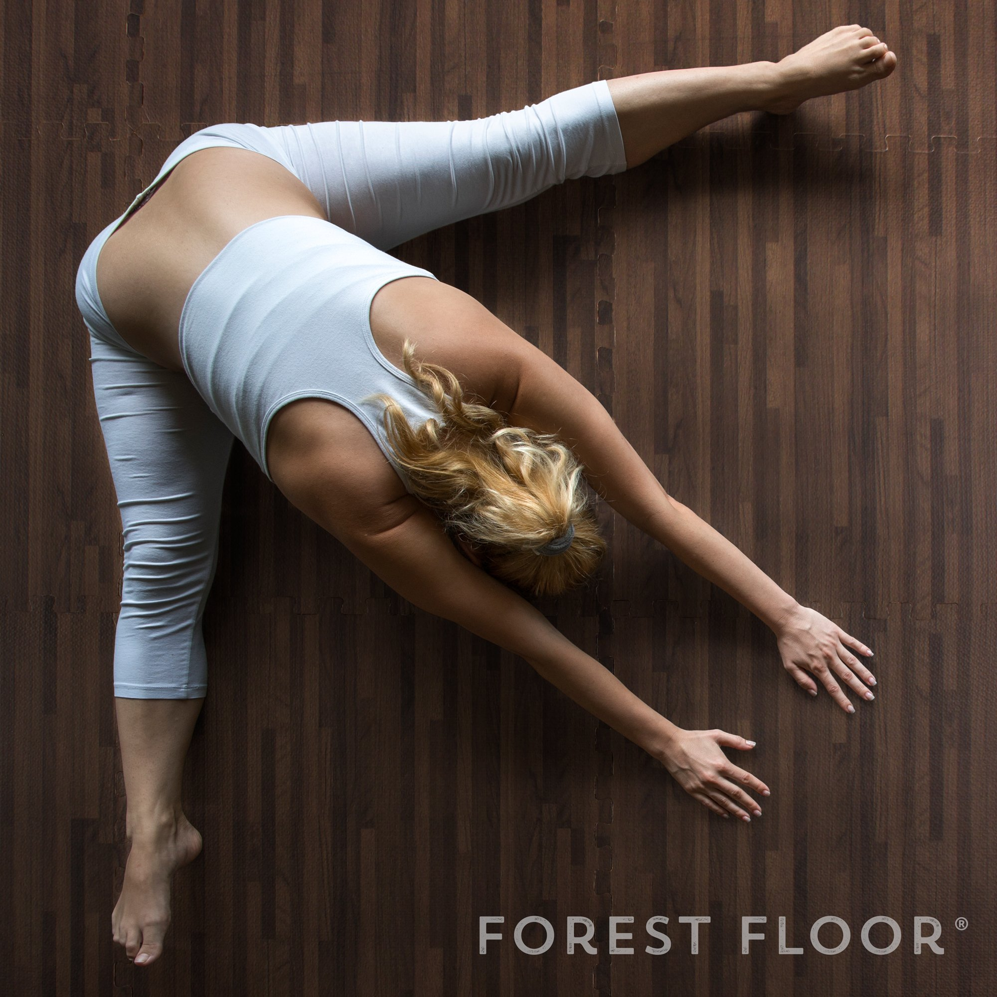Forest Floor 3/8'' Thick Printed Wood Grain Interlocking Foam Floor Mats, 16 Sq Ft (4 Tiles), Walnut by Forest Floor (Image #7)