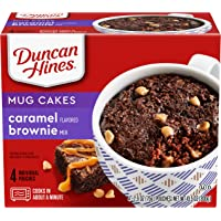 4-Pack Duncan Hines Perfect Size for 1 Brownie Mix, Ready in About a Minute, Caramel Brownie, 4 Individual Pouches, 2.6 Ounce