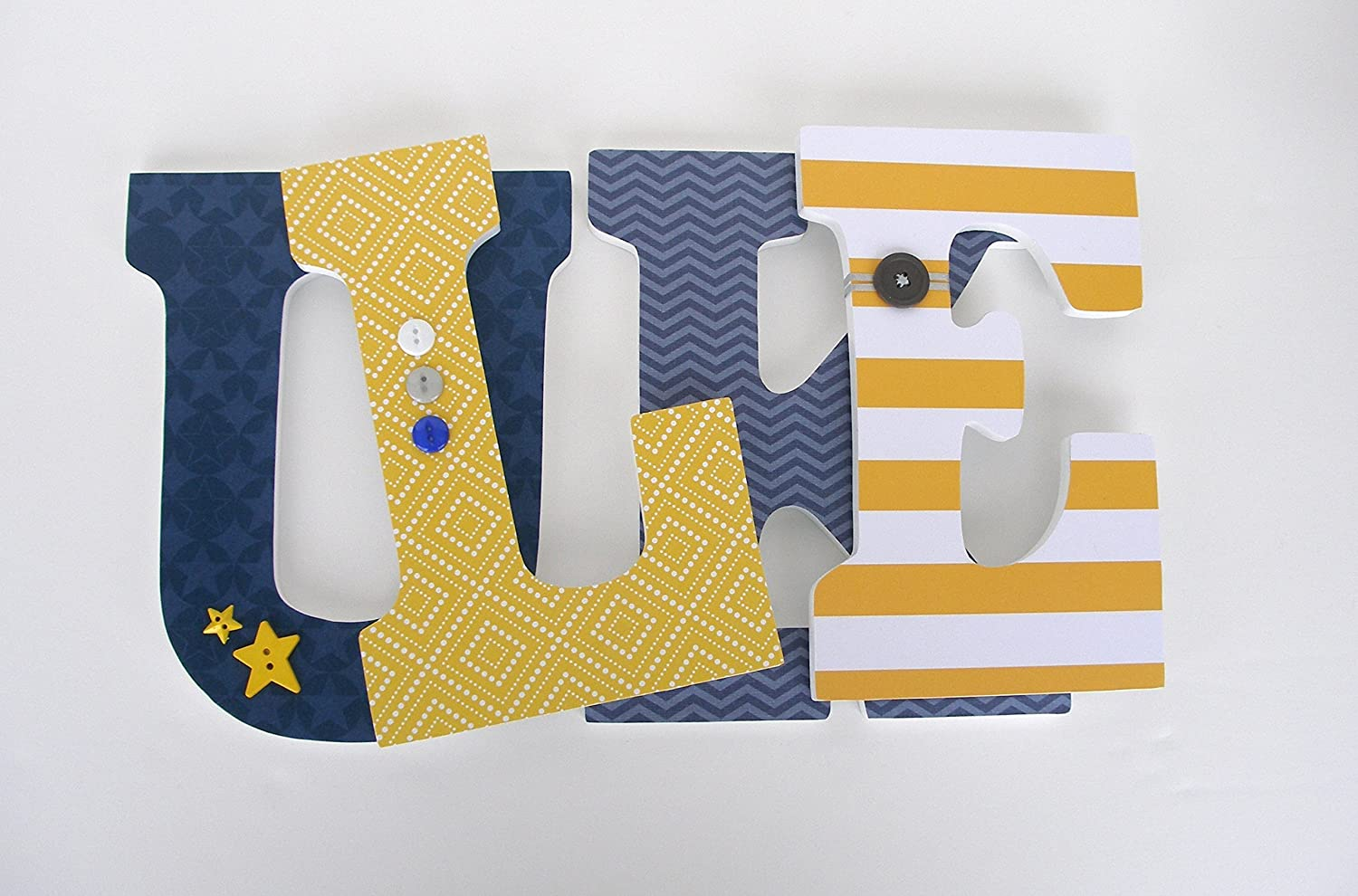 Amazon.com: Navy Blue and Yellow Custom Wooden Letters, Baby Boy ...