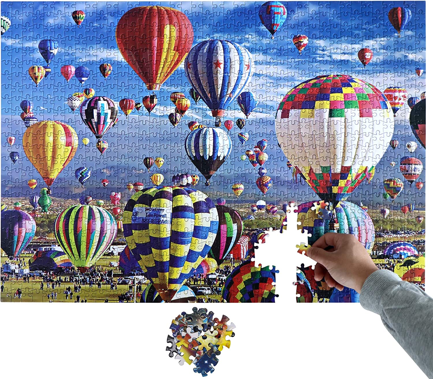 """hot air Balloon Jigsaw Puzzles 1000 Pieces for Adults, Family Puzzles for Kids and Adults, Decompression Game Toys, Large Puzzle Game Toys Gift 27.5"""" x 19.6"""""""