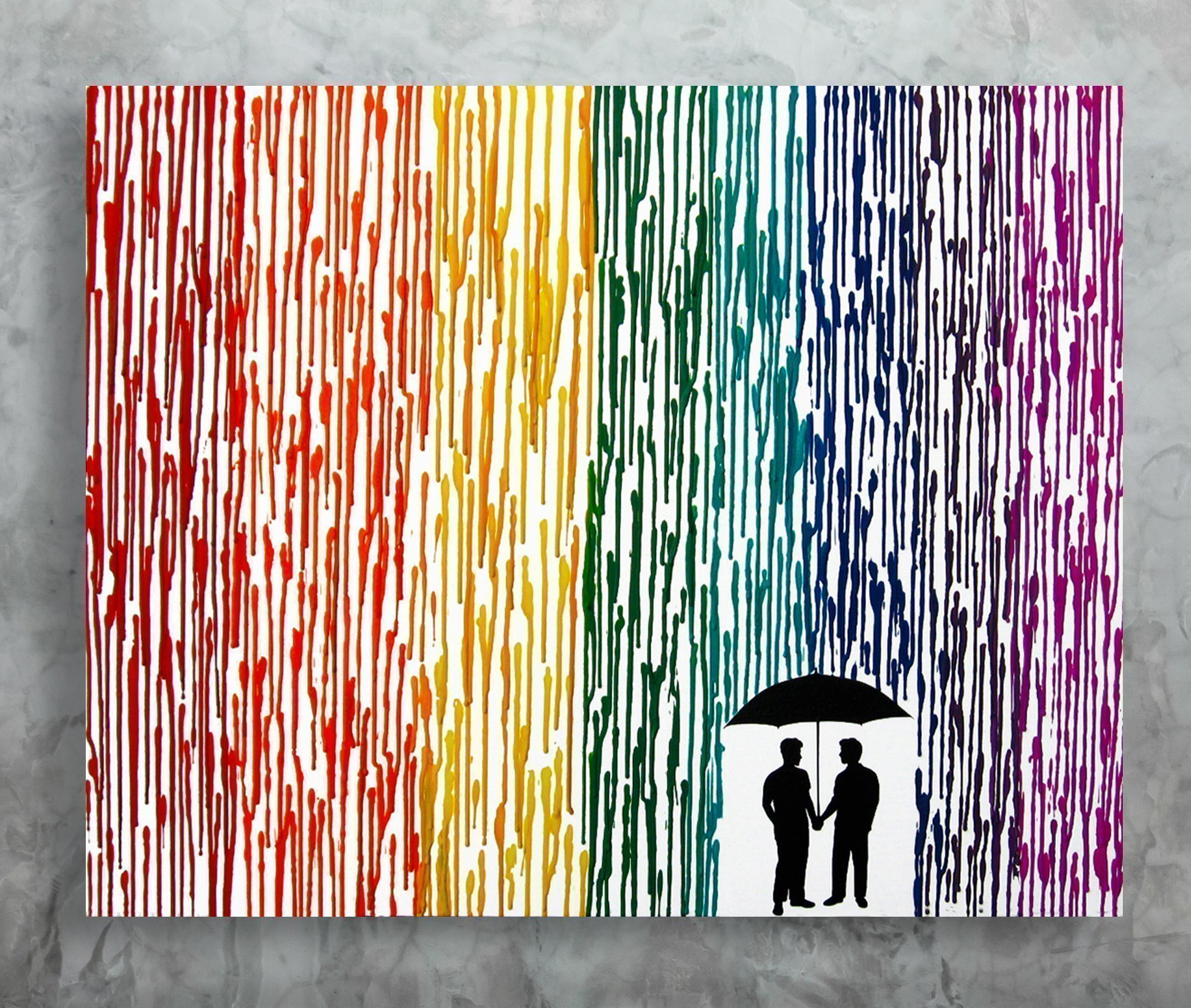 Gay Wedding Gift, 22x28 Rainbow Painting, Gay Pride Melted Crayon Art, Anniversary Gift