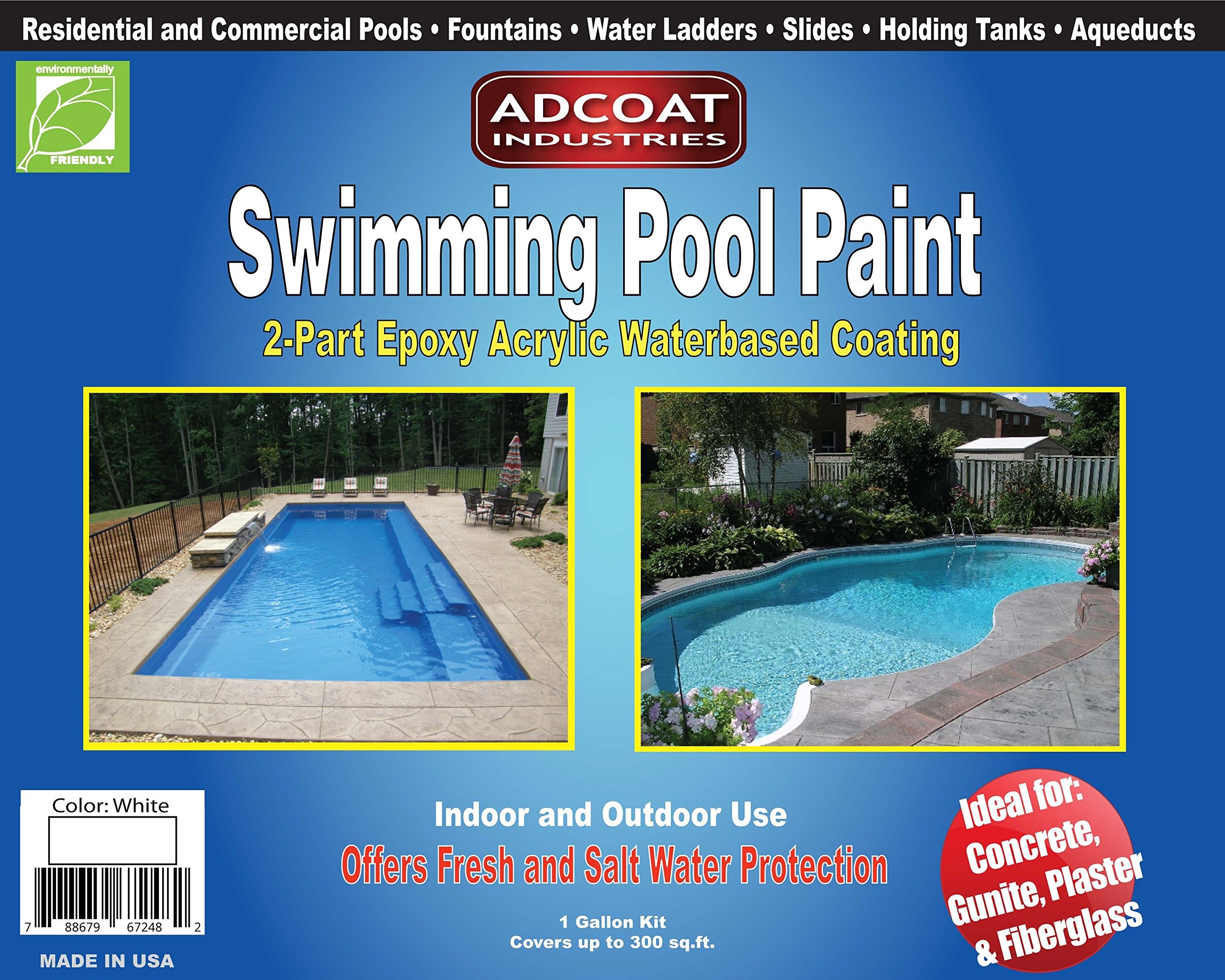AdCoat Swimming Pool Paint, 2-Part Epoxy Acrylic Waterbased Coating, 1 Gallon Kit - White Color by AdCoat