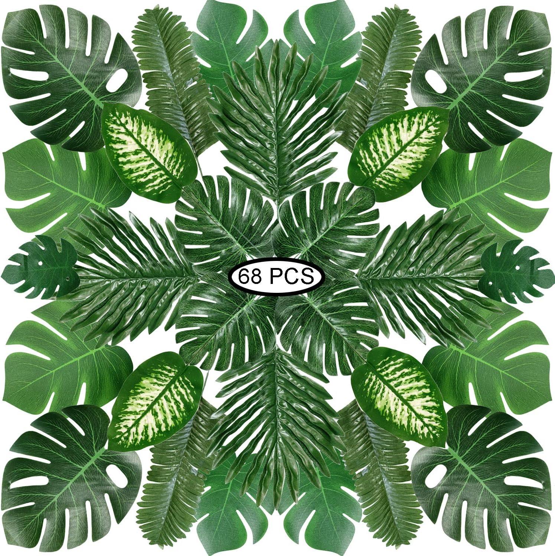 Hojas de Palma Artificiales, PietyPet 68 Piezas 8 tipos Verde Plantas Artificiales, Falso Hojas de Monstera con tallos para Luau, Fiestas Decoraciones Eventos, Bodas, Hawaiano
