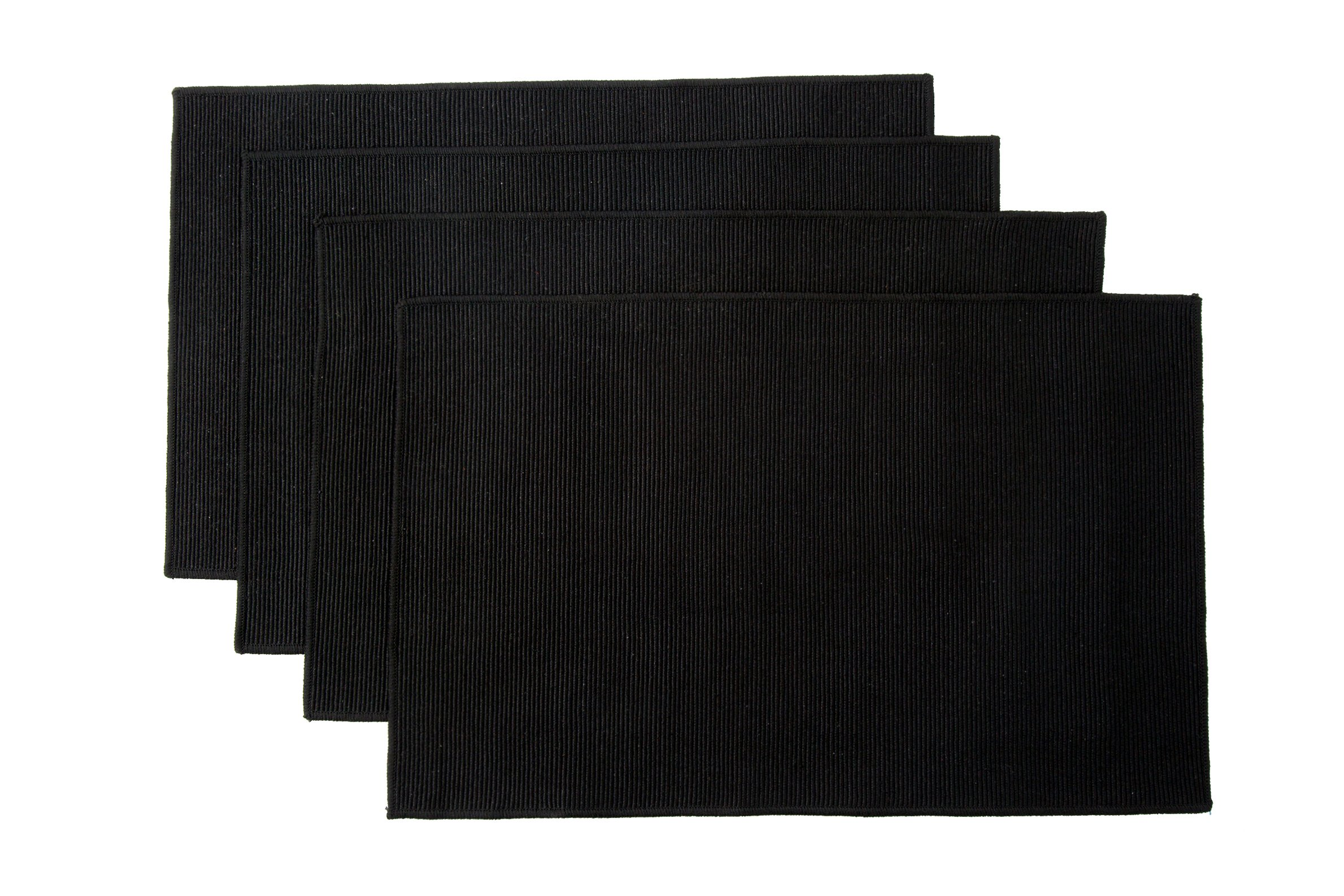 "WOOD MEETS COLOR Cotton Table Placemats Set of 4 Woven Braided Ribbed Washable Table Mats, 12"" x 18"" (Solid Black) - Each table mat is 12"" x 18"". Hand-woven with 100% cotton and linen Durable, heat insulation, easy to clean, wipe to clean - placemats, kitchen-dining-room-table-linens, kitchen-dining-room - 91DYHx2eIWL -"