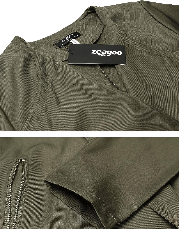 Zeagoo Damen Trenchcoat Mantel Parka mit G/ürtel Reverskragen /Übergangsjacke