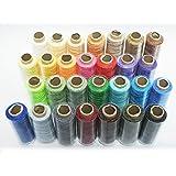 レザークラフト 革用 手縫い ロウ引き糸 28色 セット 各50m 太さ 直径 約 1mm アクセサリー 紐 蝋引き糸 (28色(各50m))