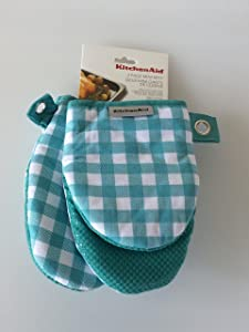 Town & Country Living KitchenAid Mini Oven Mitts Set Aqua Gingham