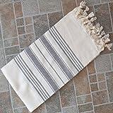 Dandelion - Ivory Basic Pattern - Naturally-Dyed Cotton Turkish Towel Peshtemal - 71x39 Inches - Gray