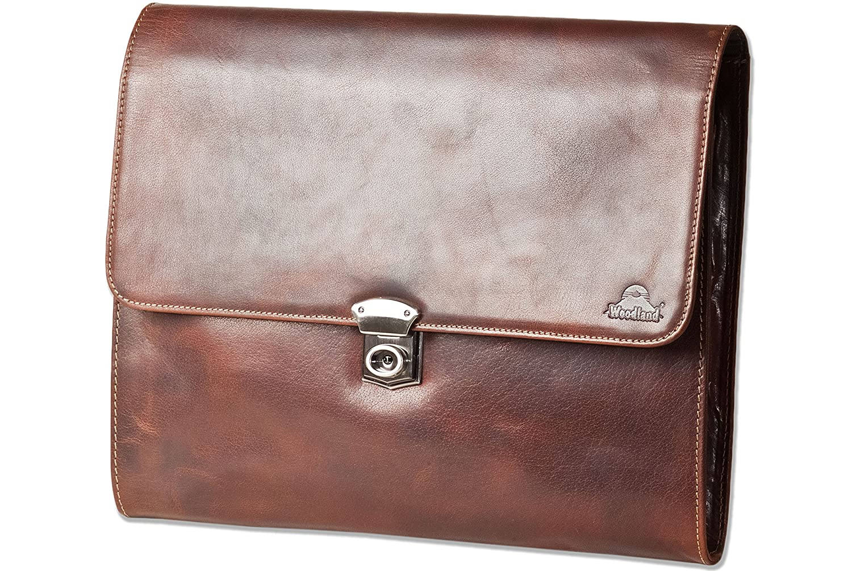 STILORD Justus Aktenmappe Leder mit Griff MacBooktasche 13,3 Zoll Schreibmappe Konferenzmappe Aktentasche Dokumentenmappe mit Henkel echtes Leder Farbe:Cognac//braun