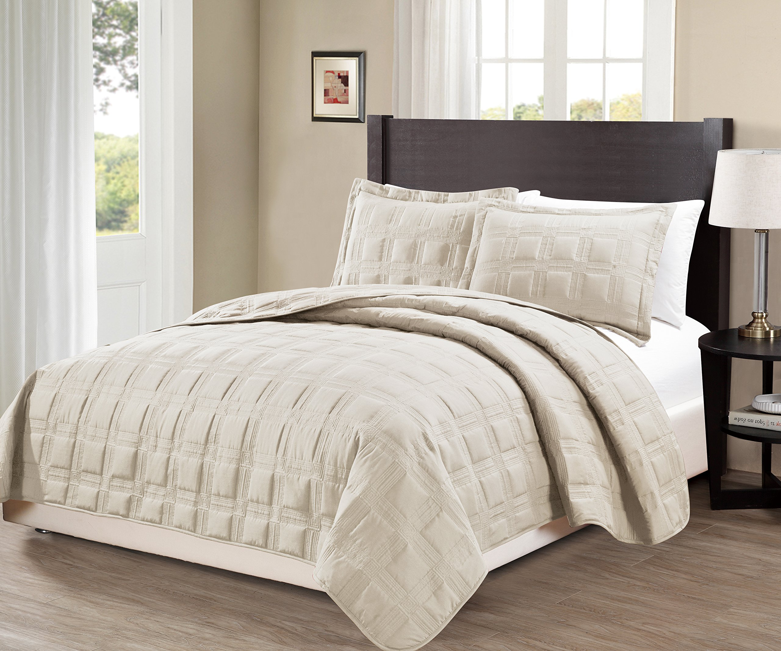 MK Home Mk Collection King/California king over size 118''x106'' 3 pc Target Bedspread Bed-cover Quilted Embroidery solid Beige New