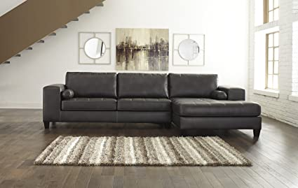 Etonnant Nokomis Contemporary Charcoal Color Sectional Sofa