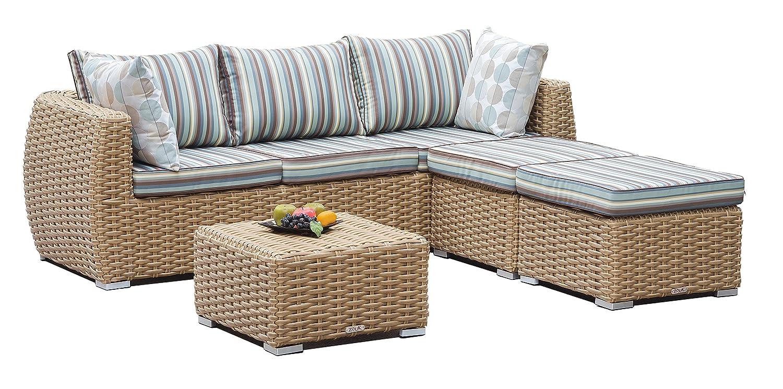 Amazon.com : Zouk CAMIA 4-piece Wicker Outdoor Sofa Set with ...