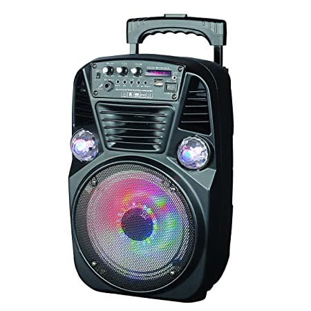 Supersonic Portable Bluetooth DJ Speaker with FM Radio 8-Inch, Black IQ-3078DJBT