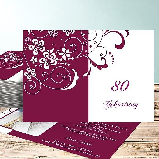 Einladung 80 Er Geburtstag, Blütenkarte Mit Foto 80 5 Karten, Horizontal  Einfach 148x105 Inkl. Weiße Umschläge, Rot: Amazon.de: Küche U0026 Haushalt