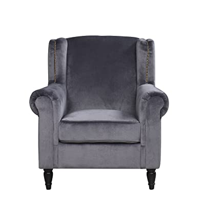 Classic Scroll Arm Velvet Fabric Accent Chair, Living Room Armchair with Nailheads (Grey)