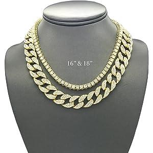Shiny Jewelers USA Mens Iced Out Hip Hop Gold Tone CZ Miami Cuban Link Chain  Choker ceb9f4b28f49